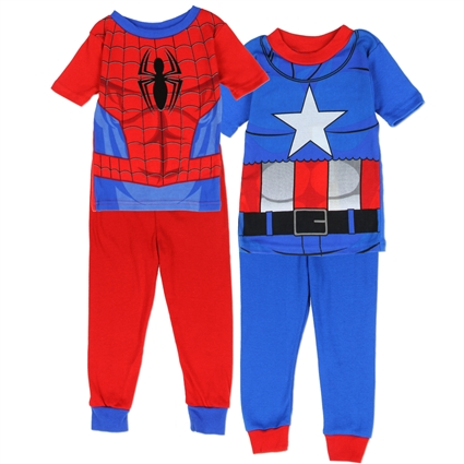 MARVEL PIJAMA 4 PIEZAS  SPIDERMAN CAPTAIN AMERICA