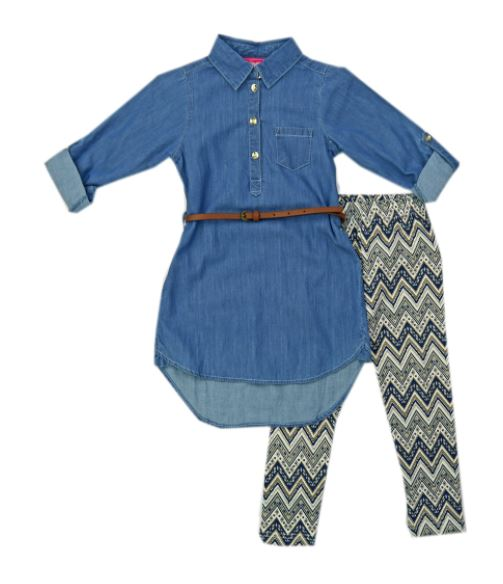FASHION GIRL MEZCLILLA  DENIM 3 PIEZAS CON FAJITA