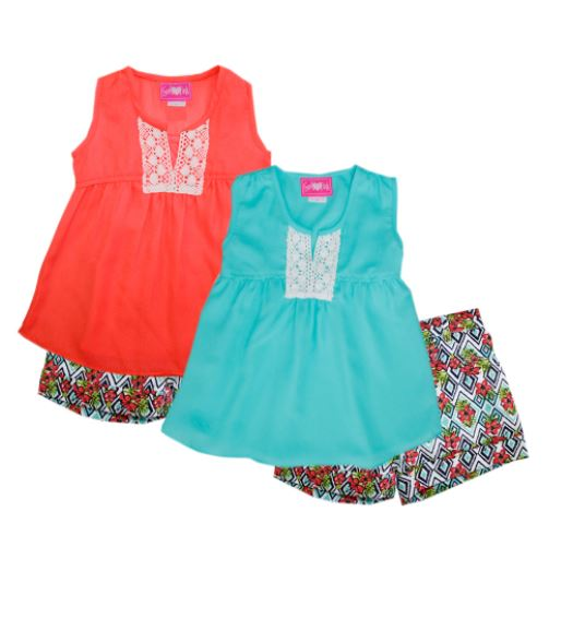 CONJUNTO FASHION GIRL 2 PIEZAS SHORT DENIM FLORAL  CORAL