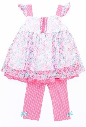 KIDS HEADQUARTERS NIÑA 2 PIEZAS FLORAL POLKA DOTS