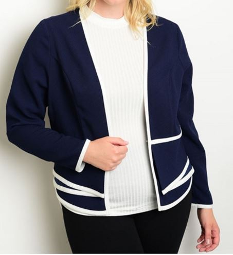 BLAZER AZUL CON RELIEVE BLANCO