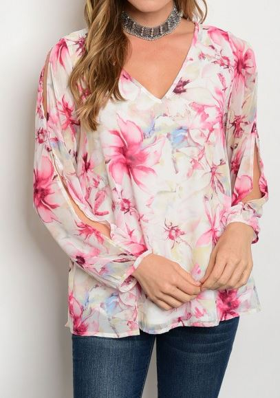 BLUSA FLORAL INCLUYE FORRO