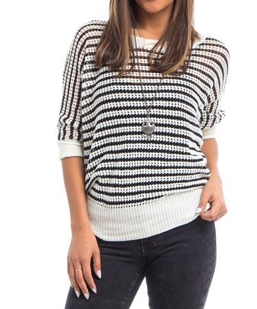 BLUSA TEJIDA RAYITAS BLACK AND WHITE