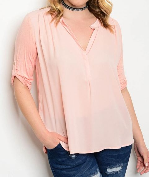 BLUSA PEACH MULTITEXTURA 3/4 SEMI STRETCH