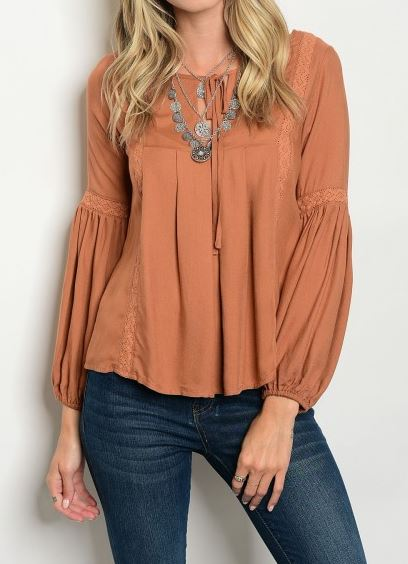 BLUSA CAMEL LACE UP