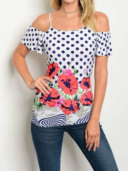 BLUSA OFF SHOULDER FLORAL CON POLKA DOTS