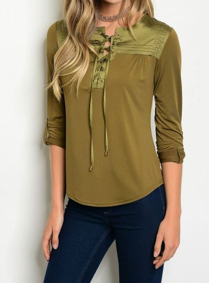 BLUSA MANGA 3/4 VERDE OLIVO LACE UP