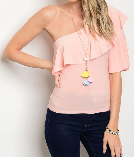 BLUSA ONE SHOULDER OFF SALMON INCLUYE ABALORIO