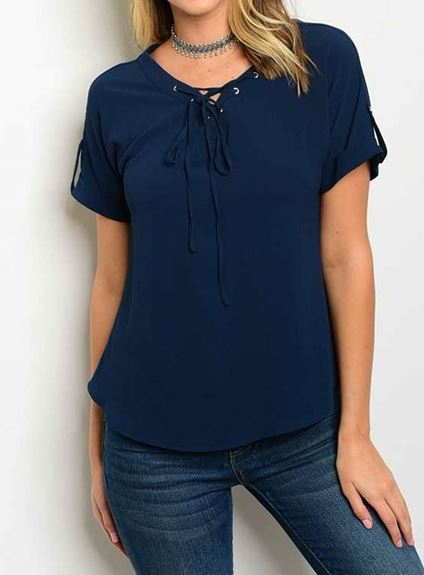 BLUSA AZUL MANGA CORTA LACE UP