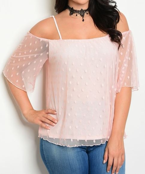 BLUSA OFF SHOULDER ROSA MESH STRETCH