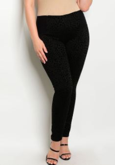 PANTALON NEGRO ANIMAL PRINT SUPER STRETCH TALLA PLUS