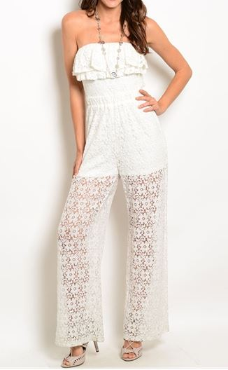 ENTERIZO JUMPSUIT BLANCO ENCAJE STRAPLESS