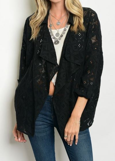 CARDIGAN/JACKET NEGRO BORDADO HILO