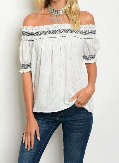BLUSA MANGA CORTA OFF SHOULDER RAYITAS BLACK AND WHITE