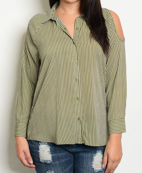 BLUSA CAMISERA PLUS COLD SHOULDER RAYITAS VERDE OLIVA