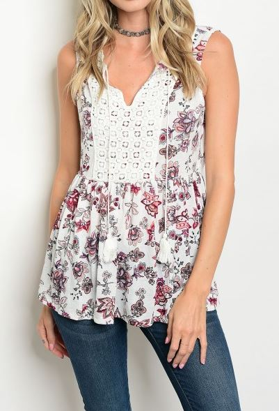 BLUSA SIN MANGAS CROCHET FLORAL