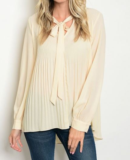 BLUSA BEIGE  MANGA LARGA LACE UP PLISADA