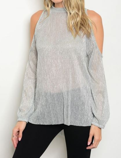 BLUSA PLATEADA COLD SOULDER LACE UP
