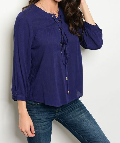 BLUSA AZUL LACE UP