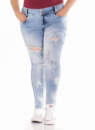JEANS LEVANTA COLA COLOMBIANO ASISEA  DESTROYED CELESTE STRETCH PLUS