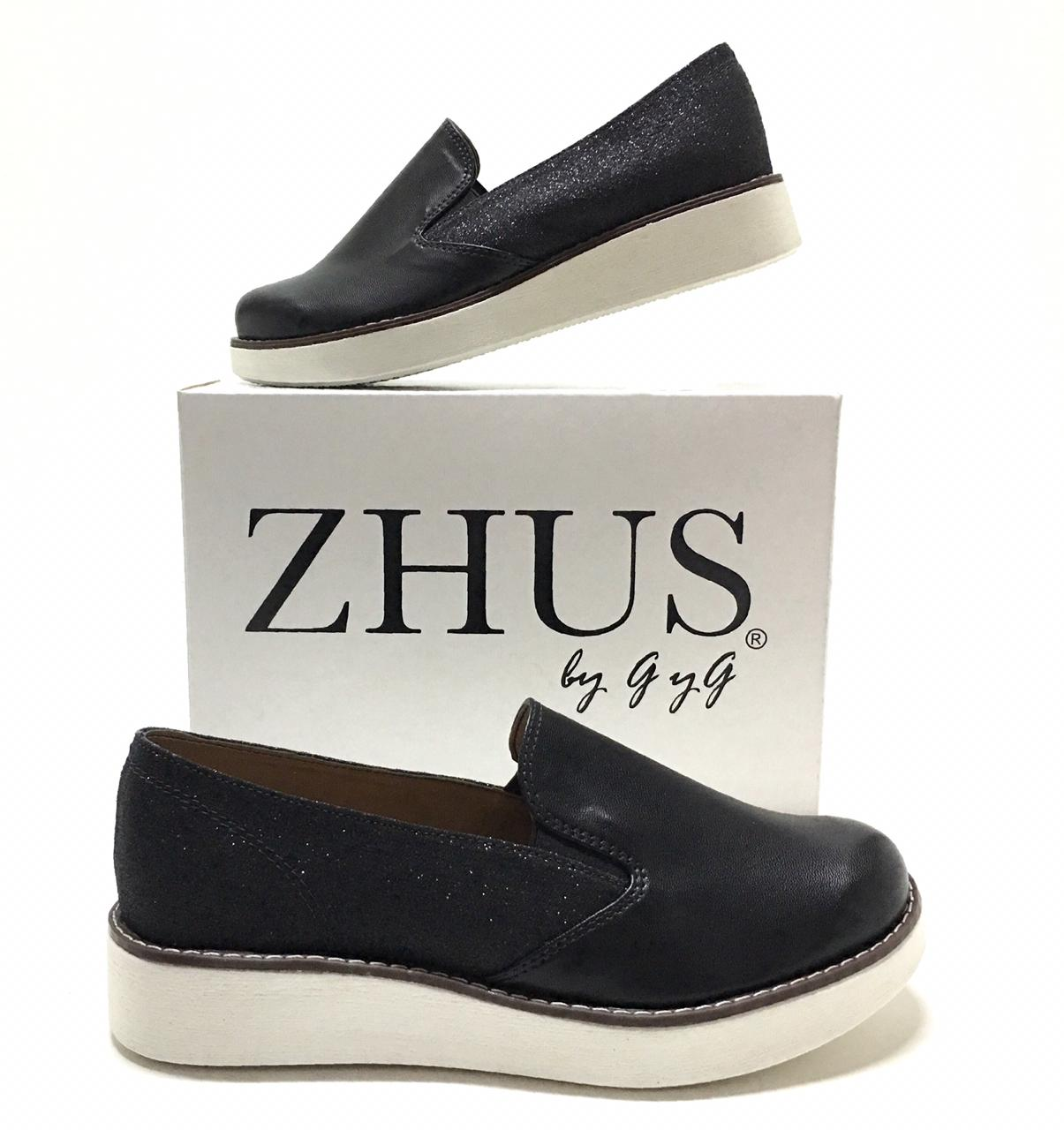 ZHUS ZAPATILLAS SNEAKERS NEGRO  SUELA ALTA BLACK AND WHITE