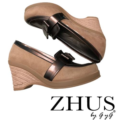 ZAPATOS ZHUS WEDGE CUÑA LAZO WEDGE BEIGE CON CAFE