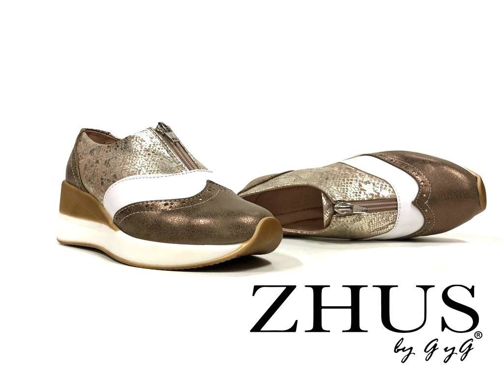 ZHUS TENNIS CUÑA OXFORD CON ZIPPER BRONCE