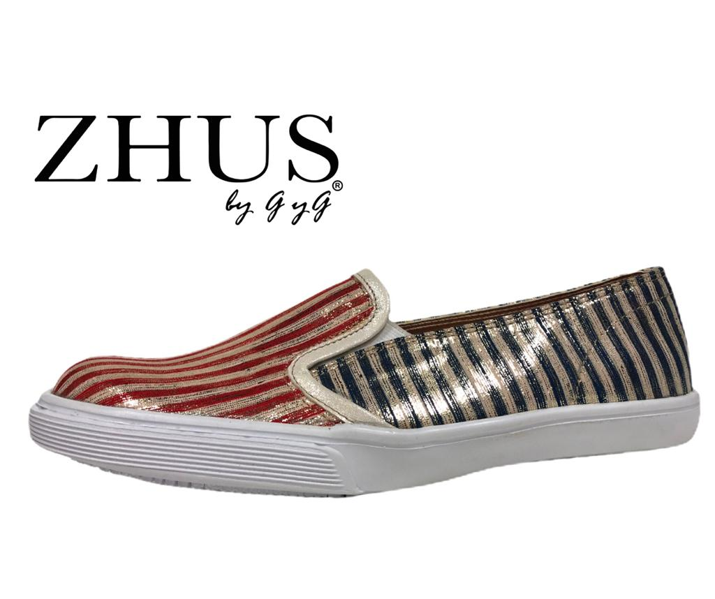 ZHUS TAMPA  ZAPATILLA METALLIC STRIPES ROJO Y AZUL