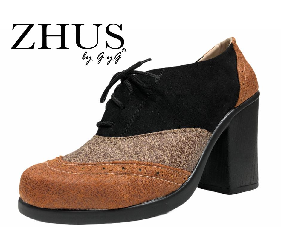 ZHUS OXFORD TACON TRICOLOR MIEL CAFE NEGRO