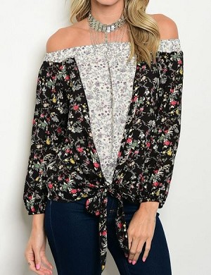 BLUSA OFF SHOULDER FLORAL MANGA LARGA NEGRO MARFIL