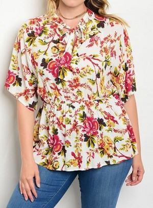 BLUSA FLORAL MANGA CORTA LACE UP TALLA PLUS
